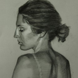 Corinne, 2012, charcoal and chalk on paper, 18x14in(45x35.5cm)