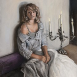 Girl with Candelabra, 2012, oil on linen, 22x27in (56x68.5cm)