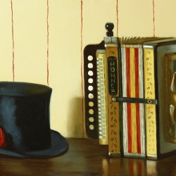 My Grandfather's Accordion, 2013, oil on linen, 15x23in (38x58cm)