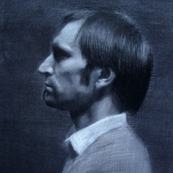 Portrait of Guido, 2009, charcoal and chalk, 13.5x18in (34x46cm)