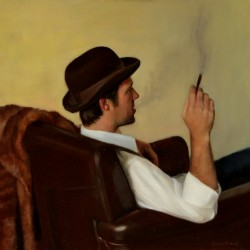 The Smoker, 2012, oil on linen, 24x22in (61x56)